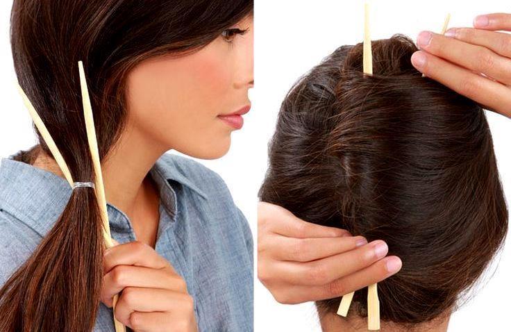 как сделать прическу с палочками для волос