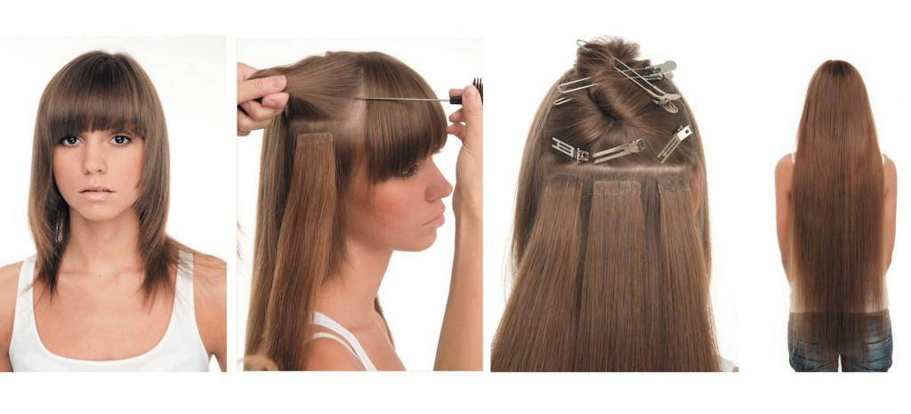Ленточное наращивание натуральных волос