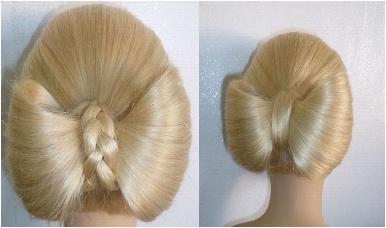 прически на длинные волосы бантик из волос видео