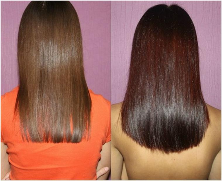 Окрашивание темных волос хной