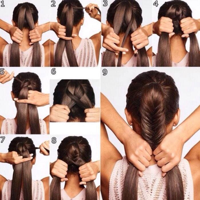 Прическа на длинные волосы своими руками хвост