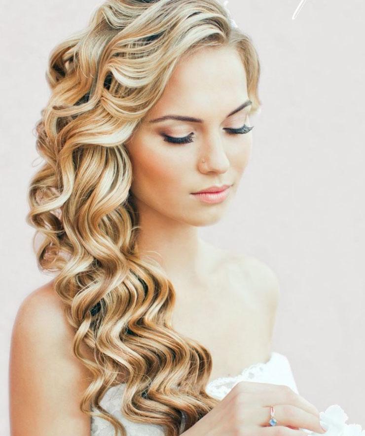 прически с завитыми волосами свадебные