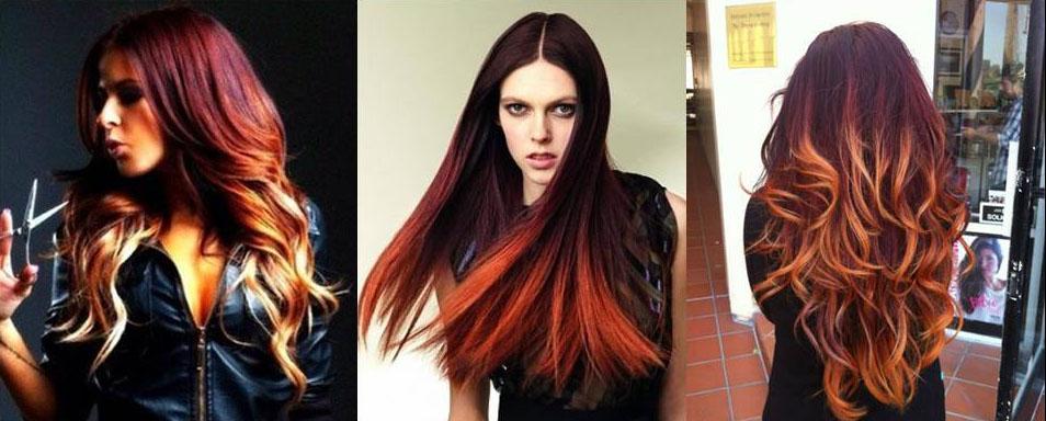 Омбре на русые волосы с эффектом языков пламени