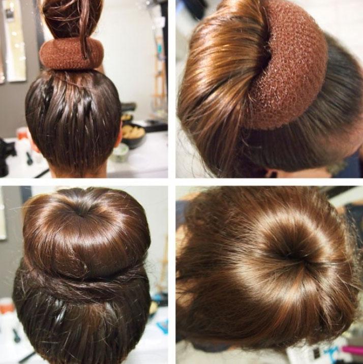Прическа с бубликом на короткие волосы