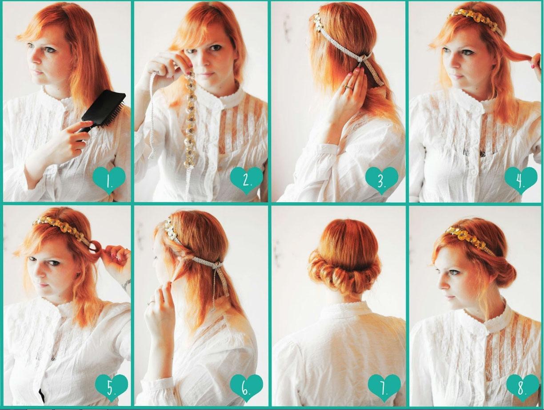 Греческая прическа с повязкой на короткие волосы