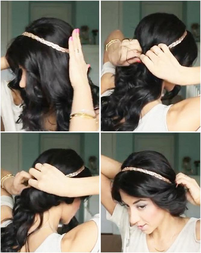 Прическа с повязкой на длинные волосы как сделать
