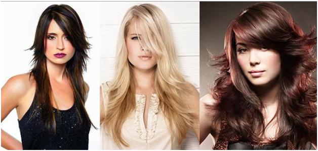 Варианты косой челки на длинные волосы
