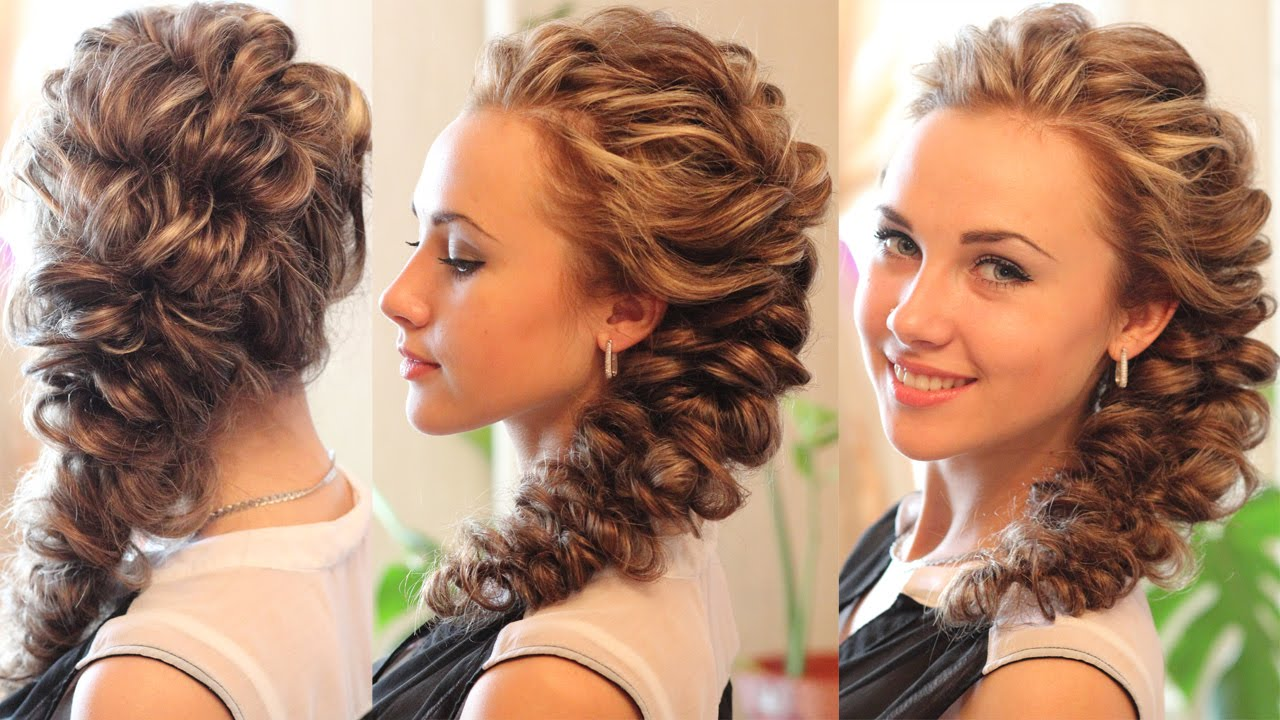 Прическа на длинные волосы на выпускной косы на