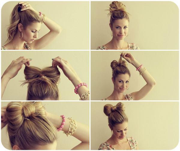"""Поэтапная инструкци как сделать прическу """"бантик"""" на длинные волосы"""