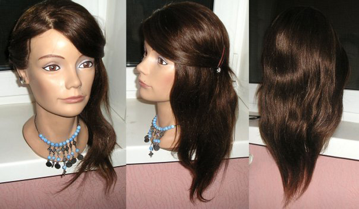 Манекен для причесок с каштановым цветом волос