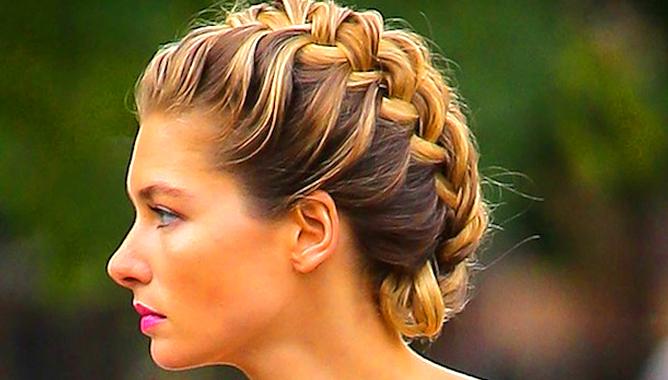 Косоплетение на средние волосы