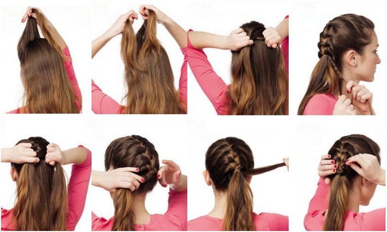 прически косички на средние волосы пошагово