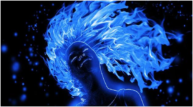 Голубой огонек в волосах во сне