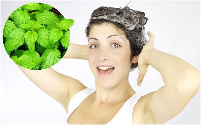 девушка делает маску для волос из крапивы