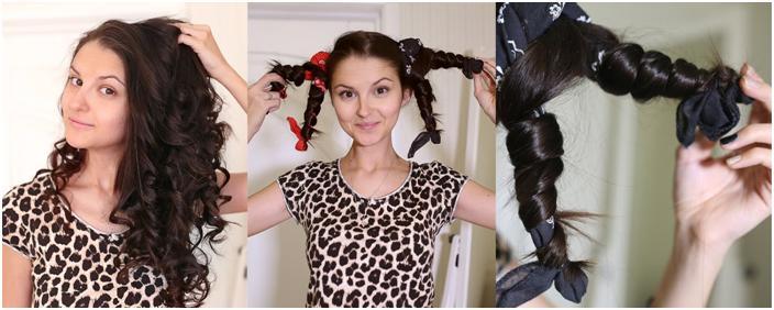 Девушка завивает волосы