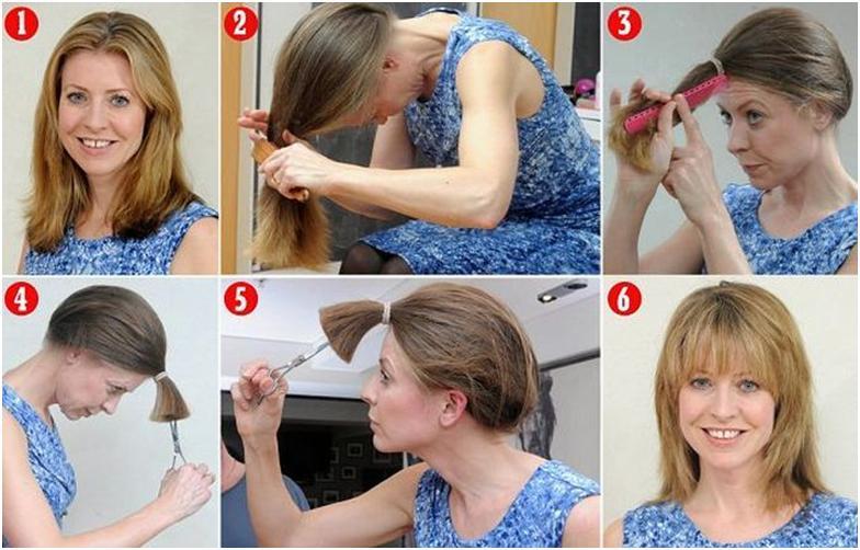 Женщина подстригает волосы сама себе