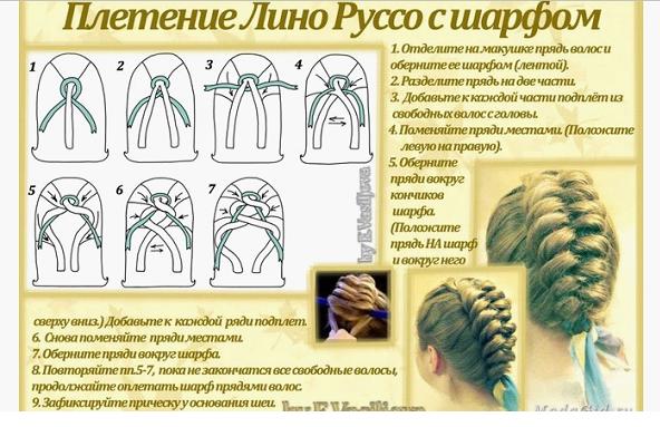 Плетение косы с шрфом
