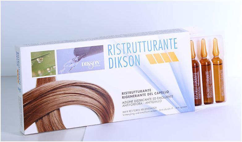 Специальное средство в ампулах для лечения волос dikson ristrutturante