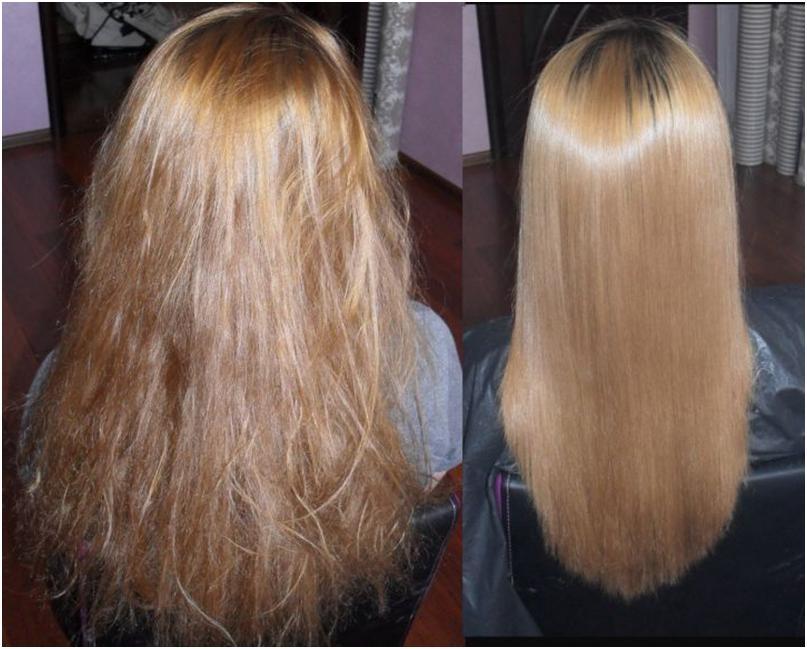 Волосы девушки до и после выпрямления
