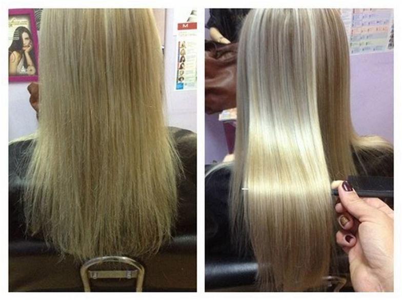 Волосы до и после ботокса для волос